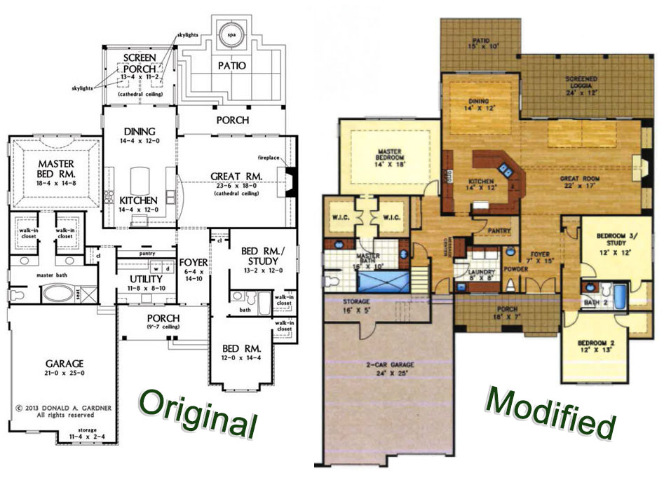 Original vs Modified floor plans: The Bosworth #1328 by Don Gardner