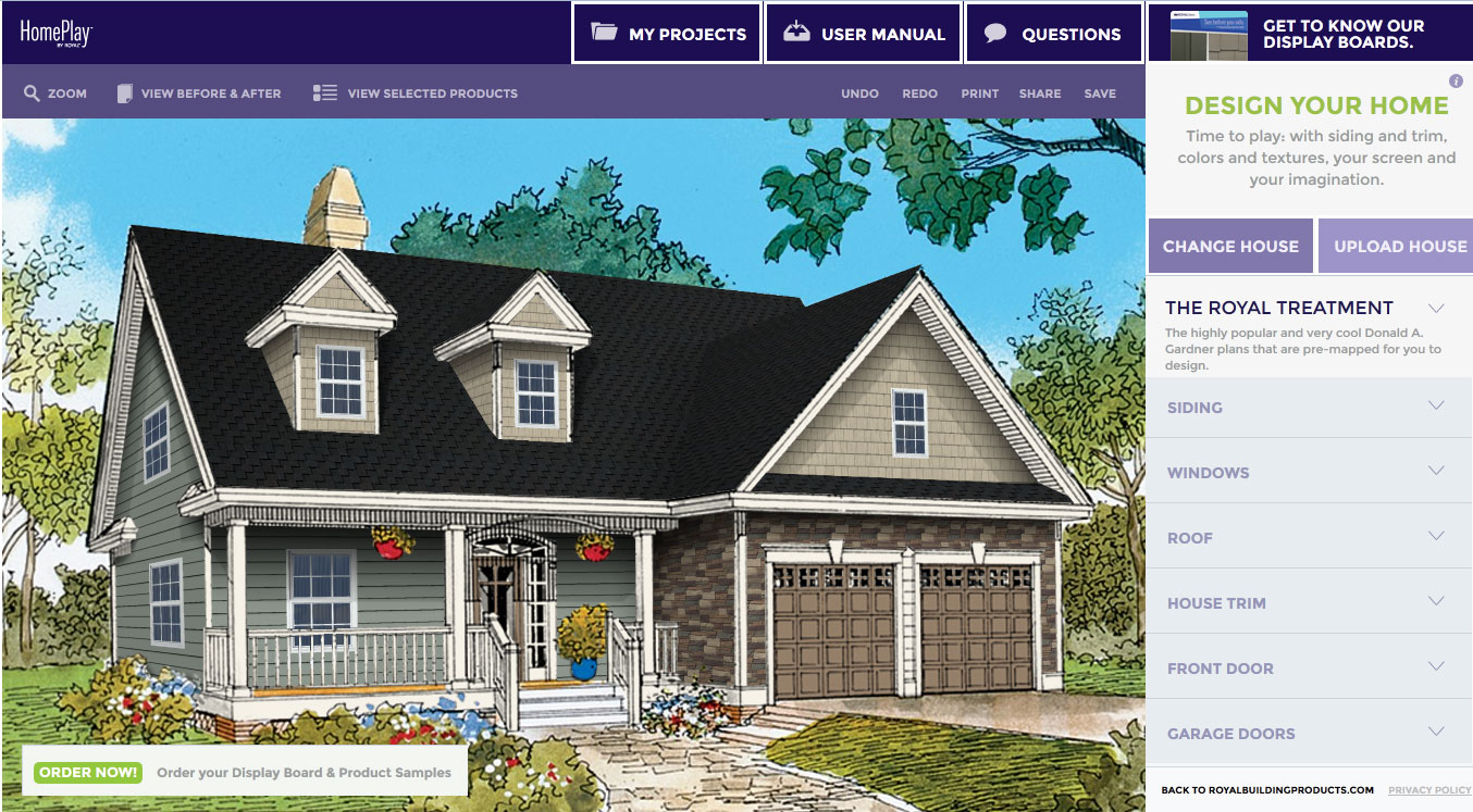 Customize this exterior with HomePlay by Royal Building Products The Courtney Plan #706