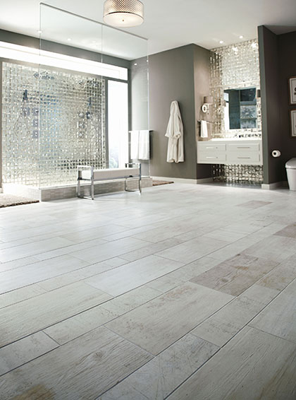 Bathroom: wood-grain tile