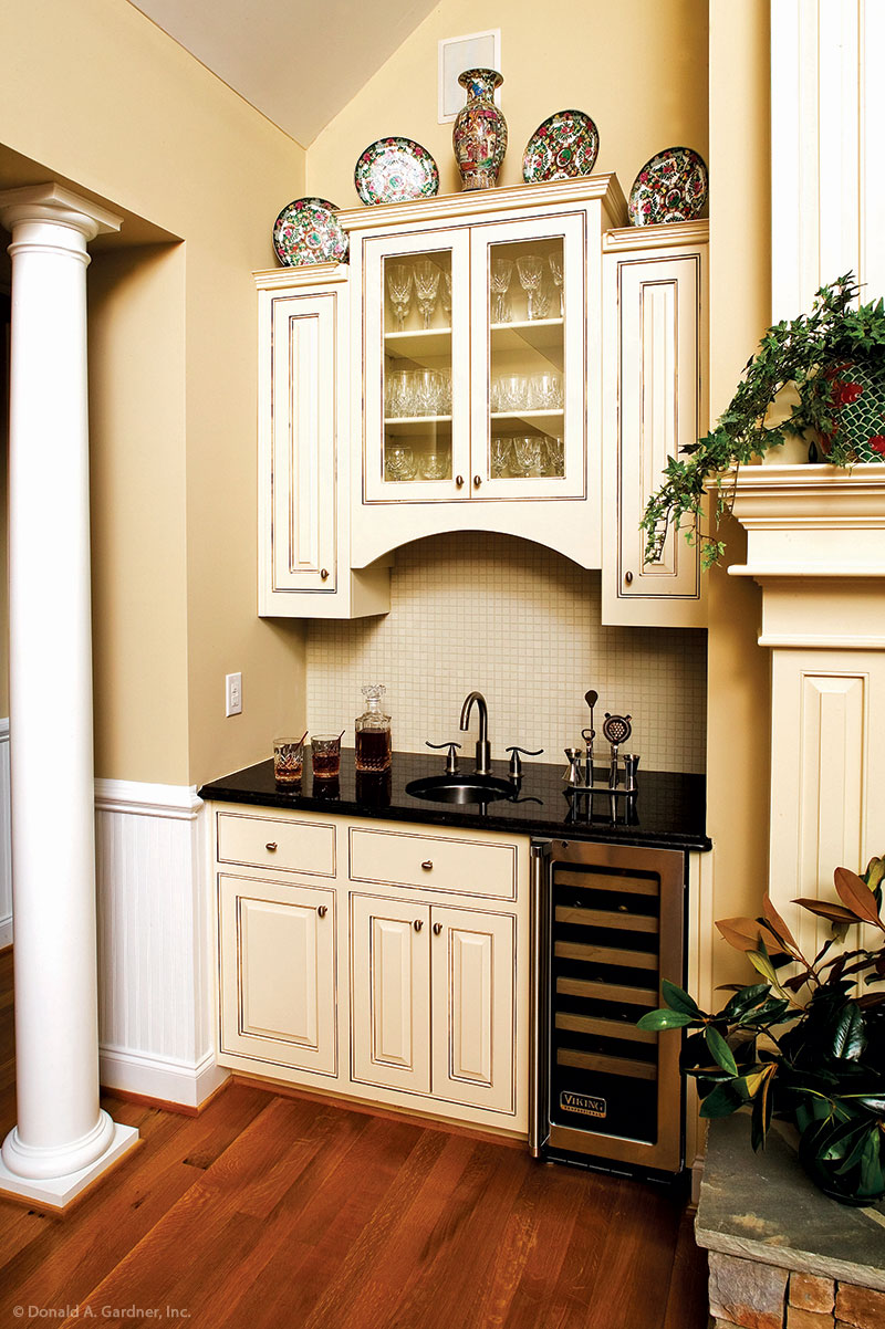 Custom wet bar in the great room of the Satchwell Home Plan #967