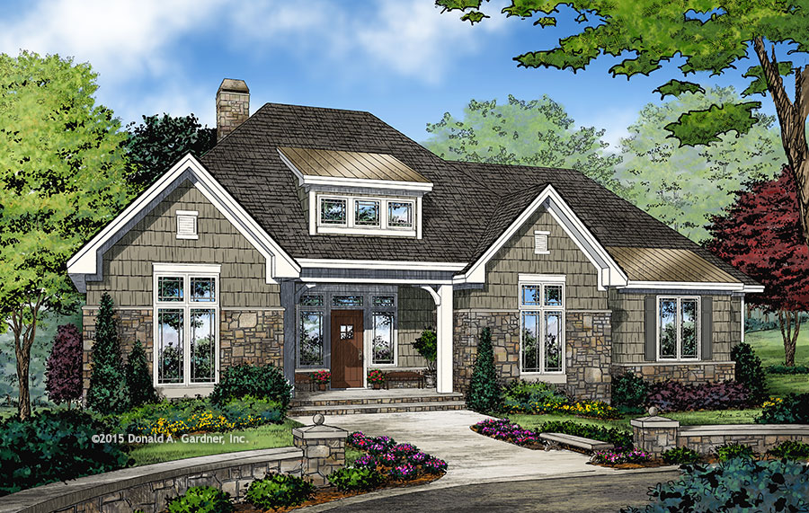 Check out the front rendering of home plan 1278, The Greer.