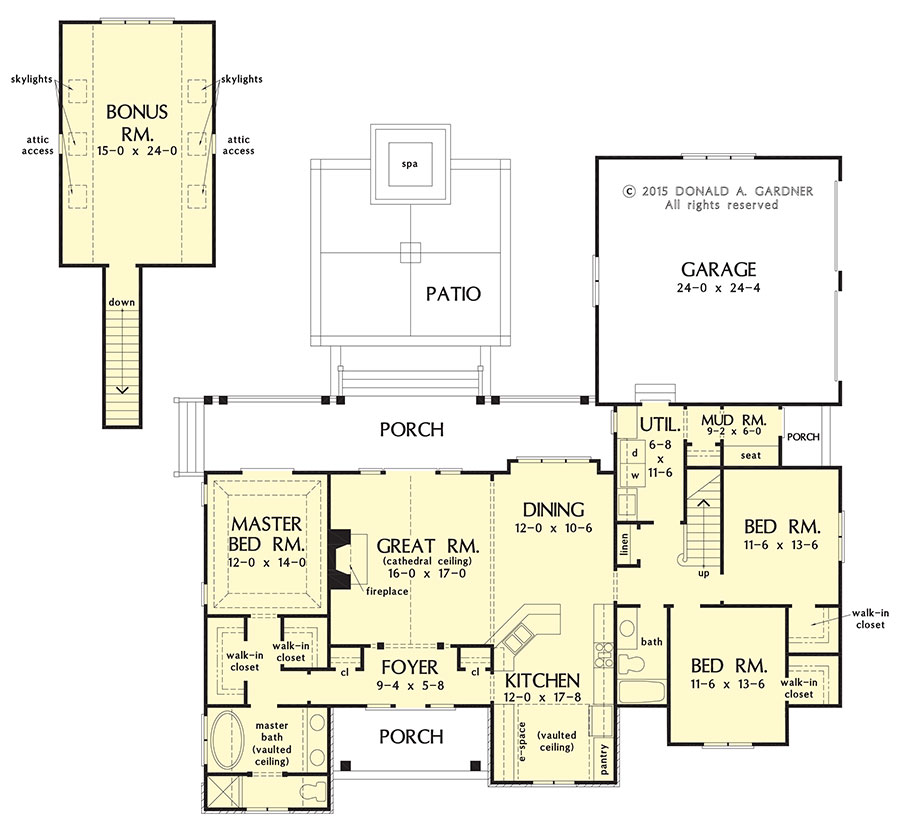 Check out the floor plan for home plan 1278, The Greer.