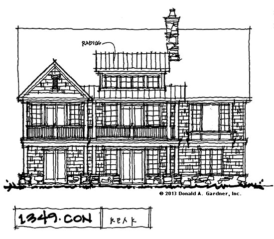Rear Elevation: House Plans on the Drawing Board - Plan #1349