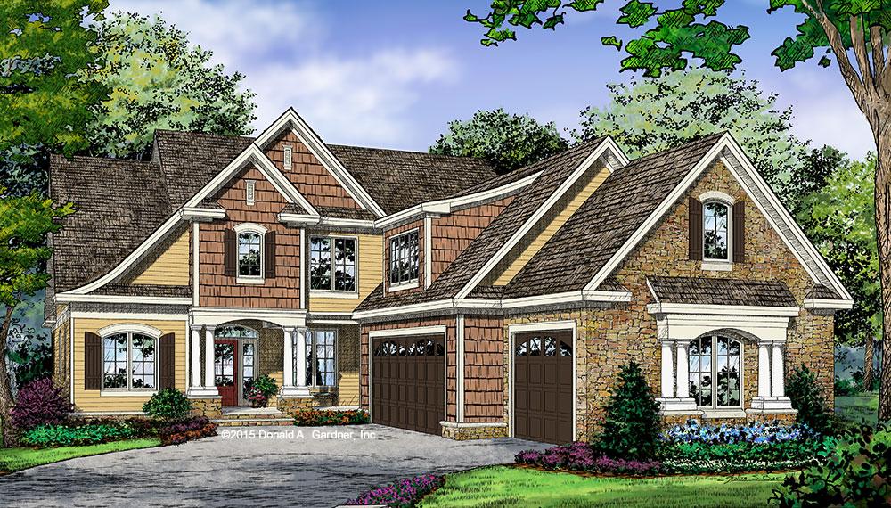 Cottage Exterior Rendering - House Plan Design #1363
