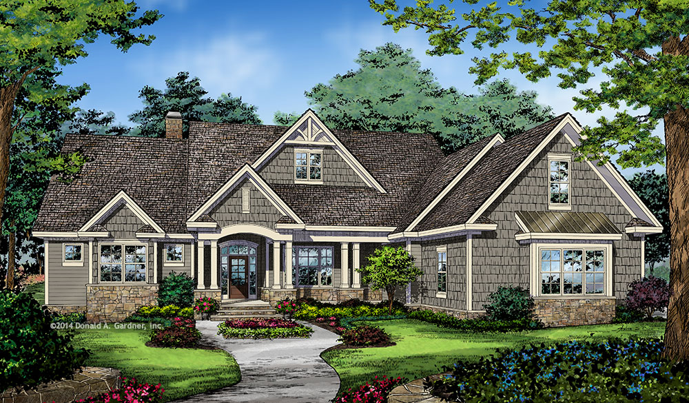 Home plan #1371 - front rendering