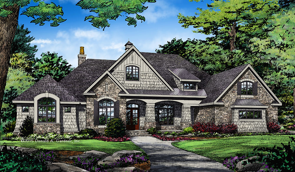 New home plan - The Harrison 1375 front rendering