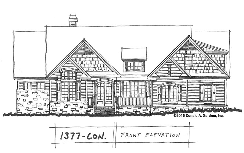 Original sketches of home plan 1377, The Forest Grove.