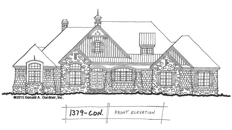 Conceptual Design 1379 Craftsman Ranch With Rear Garage