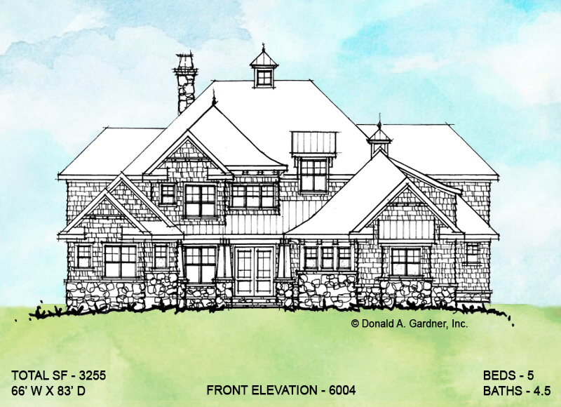 Front elevation of conceptual house plan 6004.