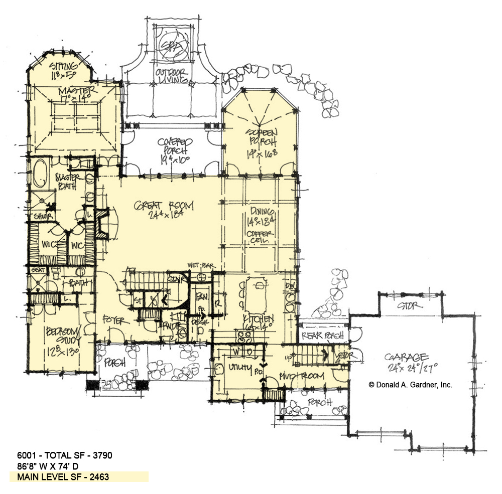 First floor of conceptual house plan 6001