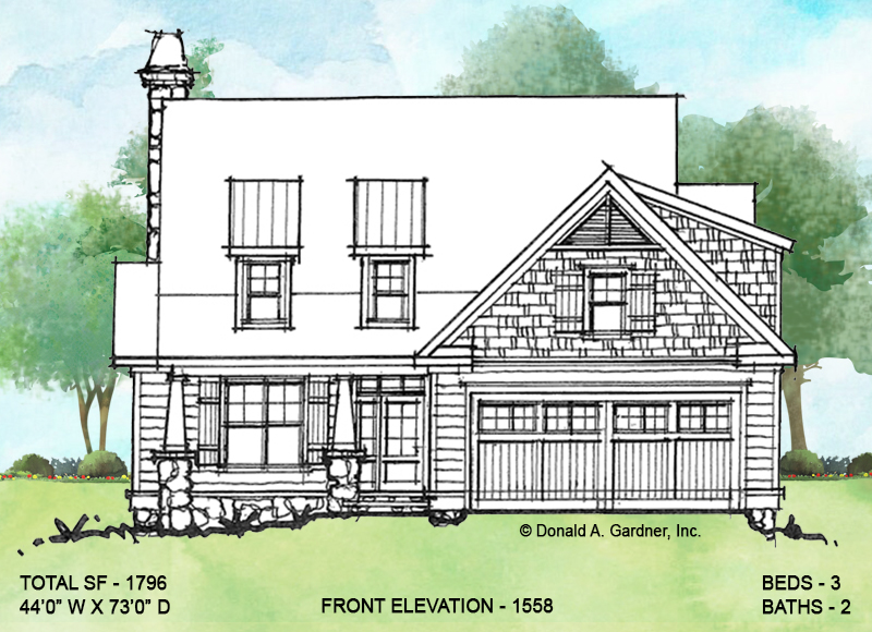 Front elevation of conceptual house plan 1558.