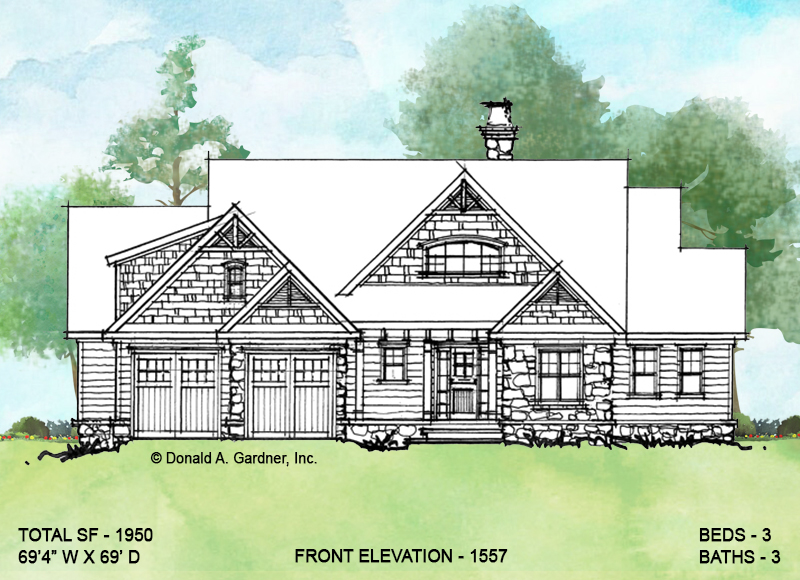 Front elevation of conceptual house plan 1557.
