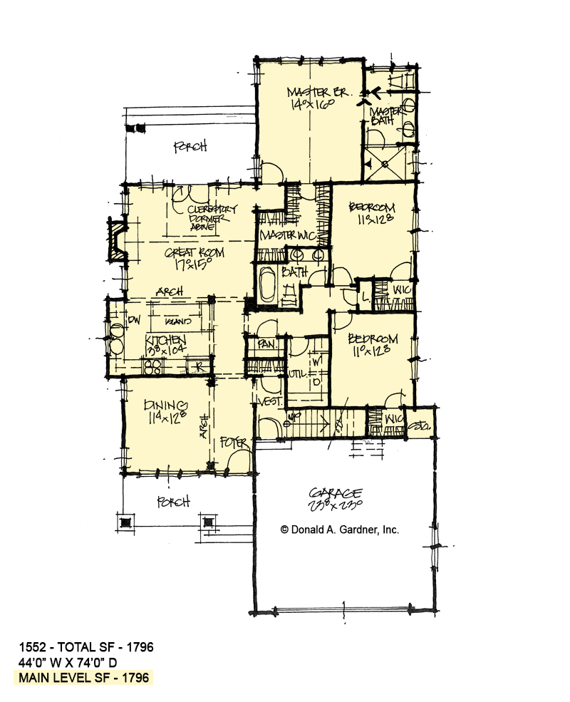 First floor of conceptual house plan 1552.