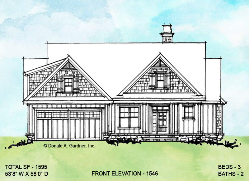 Front elevation of conceptual house plan 1546.