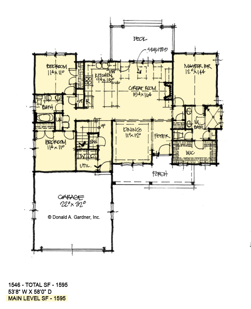 First floor of conceptual house plan 1546.