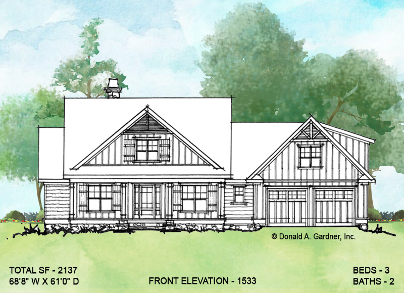Front elevation of conceptual house plan 1533.
