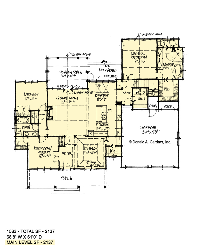 First floor of conceptual house plan 1533.