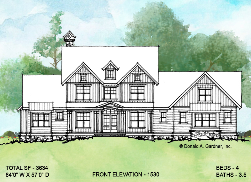 Front elevation of conceptual house plan 1530.