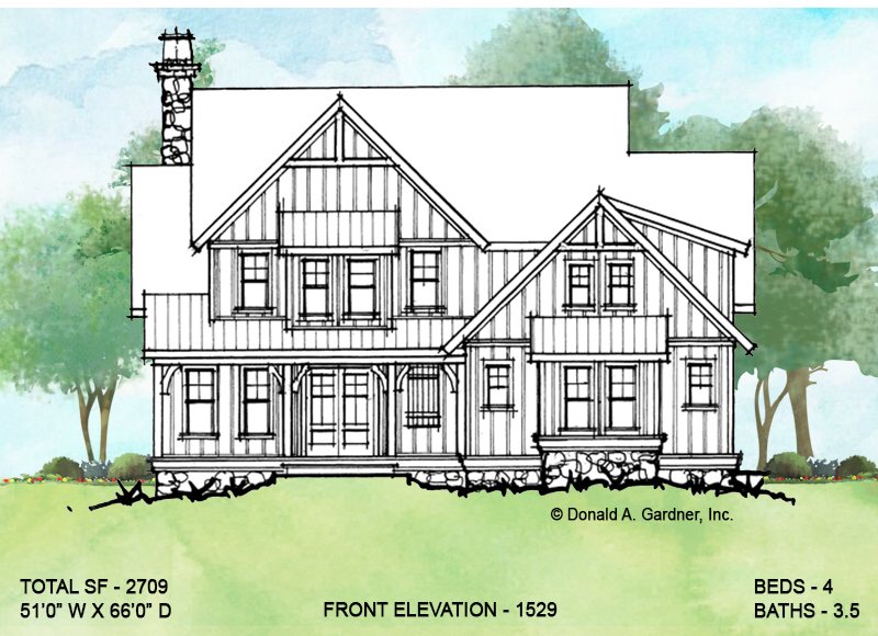 Front elevation of conceptual house plan 1529.