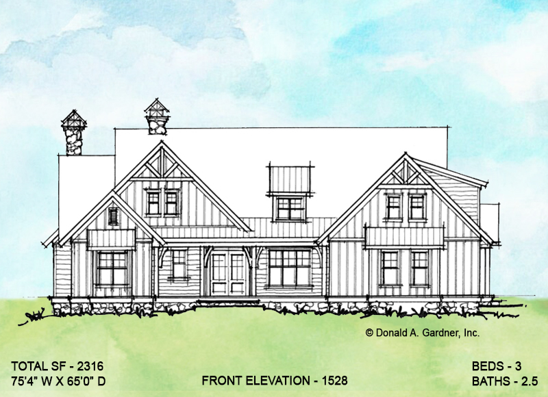 Front elevation of conceptual house plan 1528.
