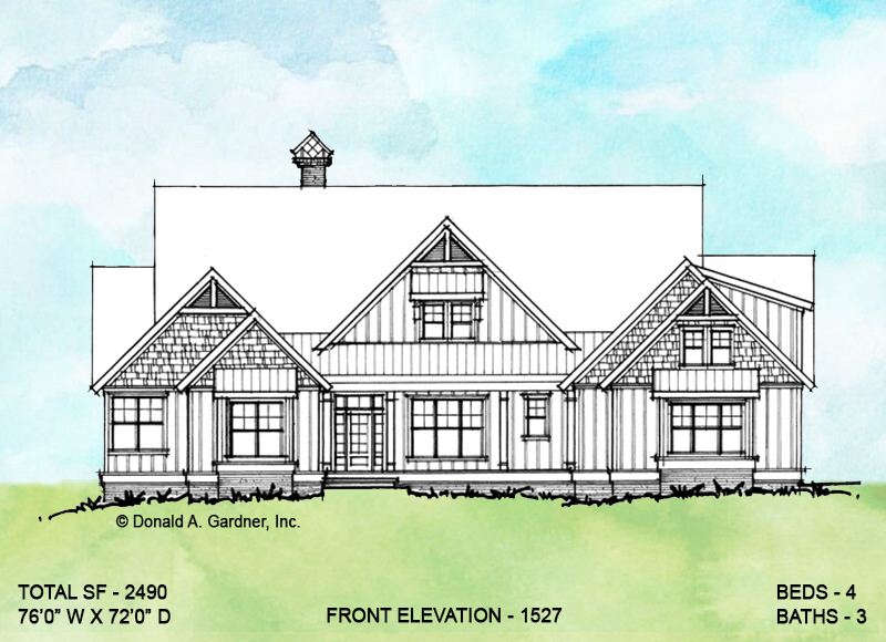 Front elevation of conceptual house plan 1527.