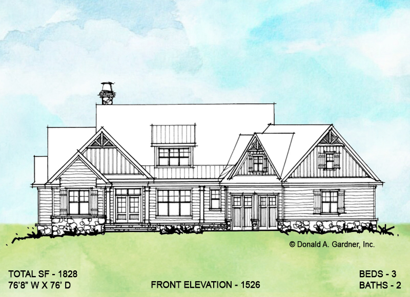 Front elevation of conceptual house plan 1526.