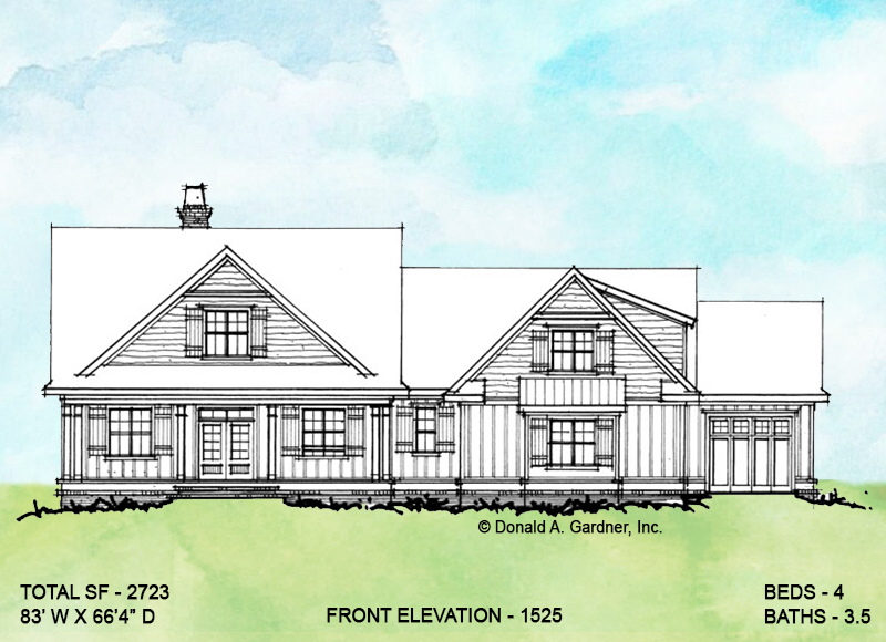 Front elevation of conceptual house plan 1525.