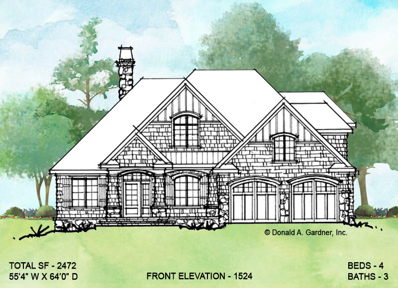 Front elevation of conceptual house plan 1524.