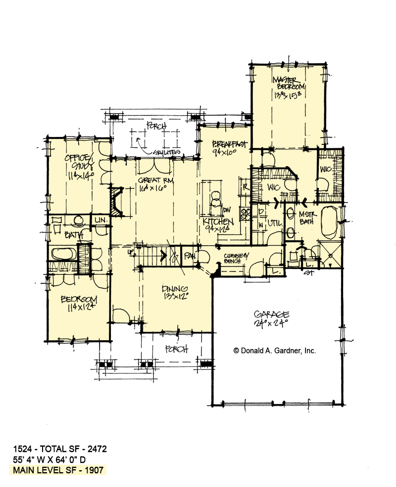 First floor of conceptual house plan 1524.