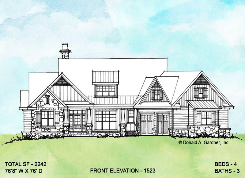 Front elevation of conceptual house plan 1523.