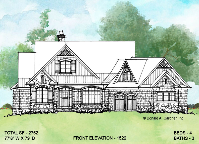 Front elevation of conceptual house plan 1522.