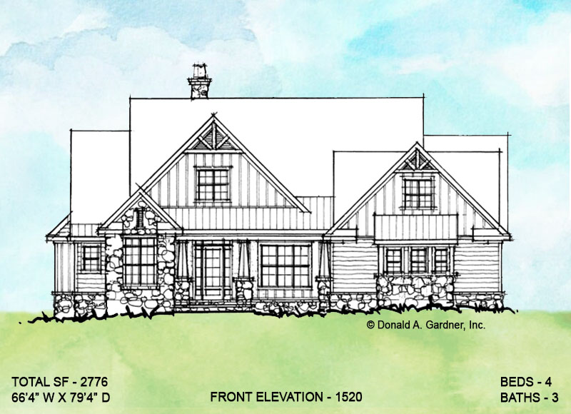 Front elevation of conceptual house plan 1520.