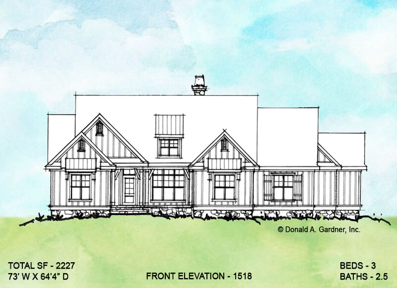 Front elevation of conceptual house plan 1518.