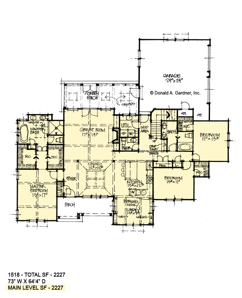 First floor of conceptual house plan 1518.
