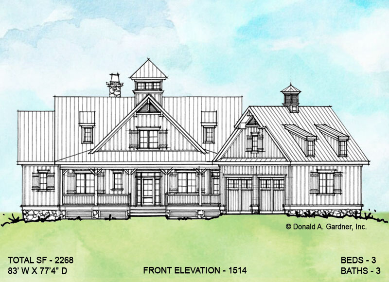 Front elevation of conceptual house plan 1514.