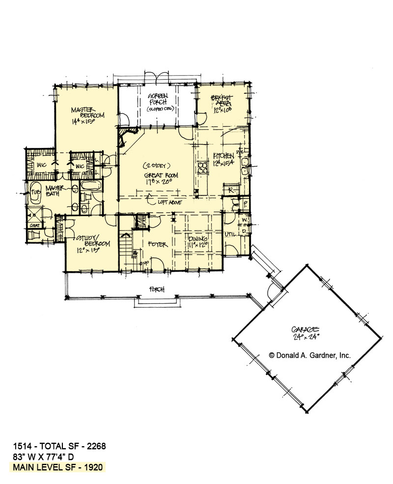 First floor of conceptual house plan 1514.