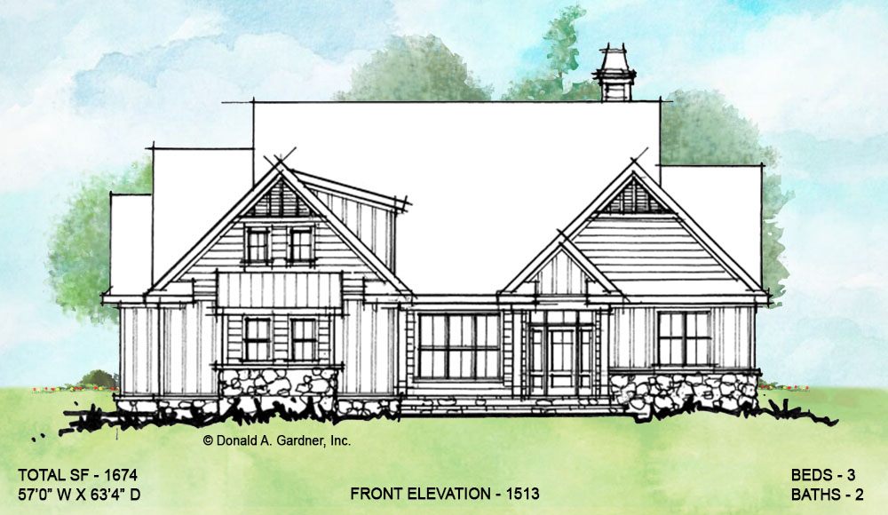 Front elevation of conceptual house plan 1513.