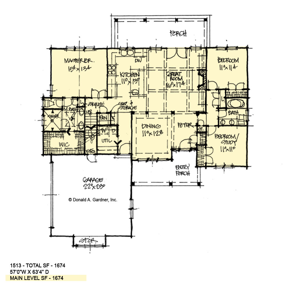 First floor of conceptual house plan 1513.