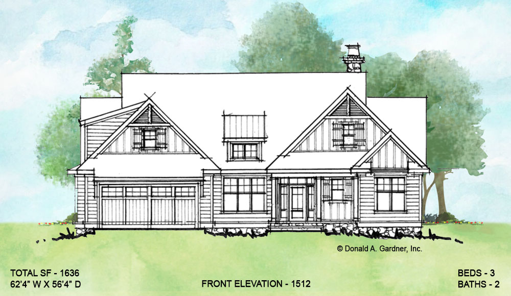 Front elevation of conceptual house plan 1512.