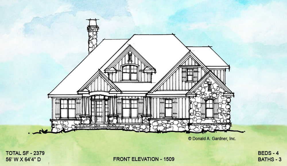 Front elevation of conceptual house plan 1509.