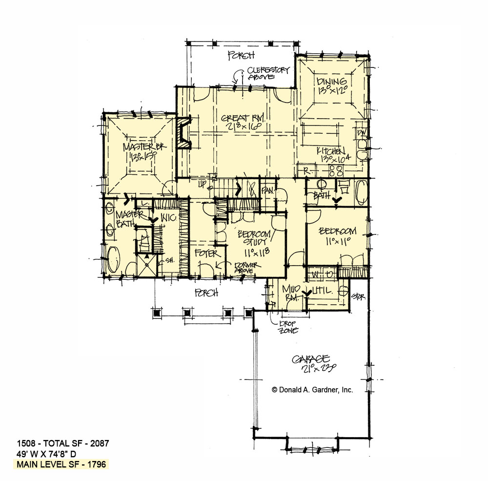 First floor of conceptual house plan 1508