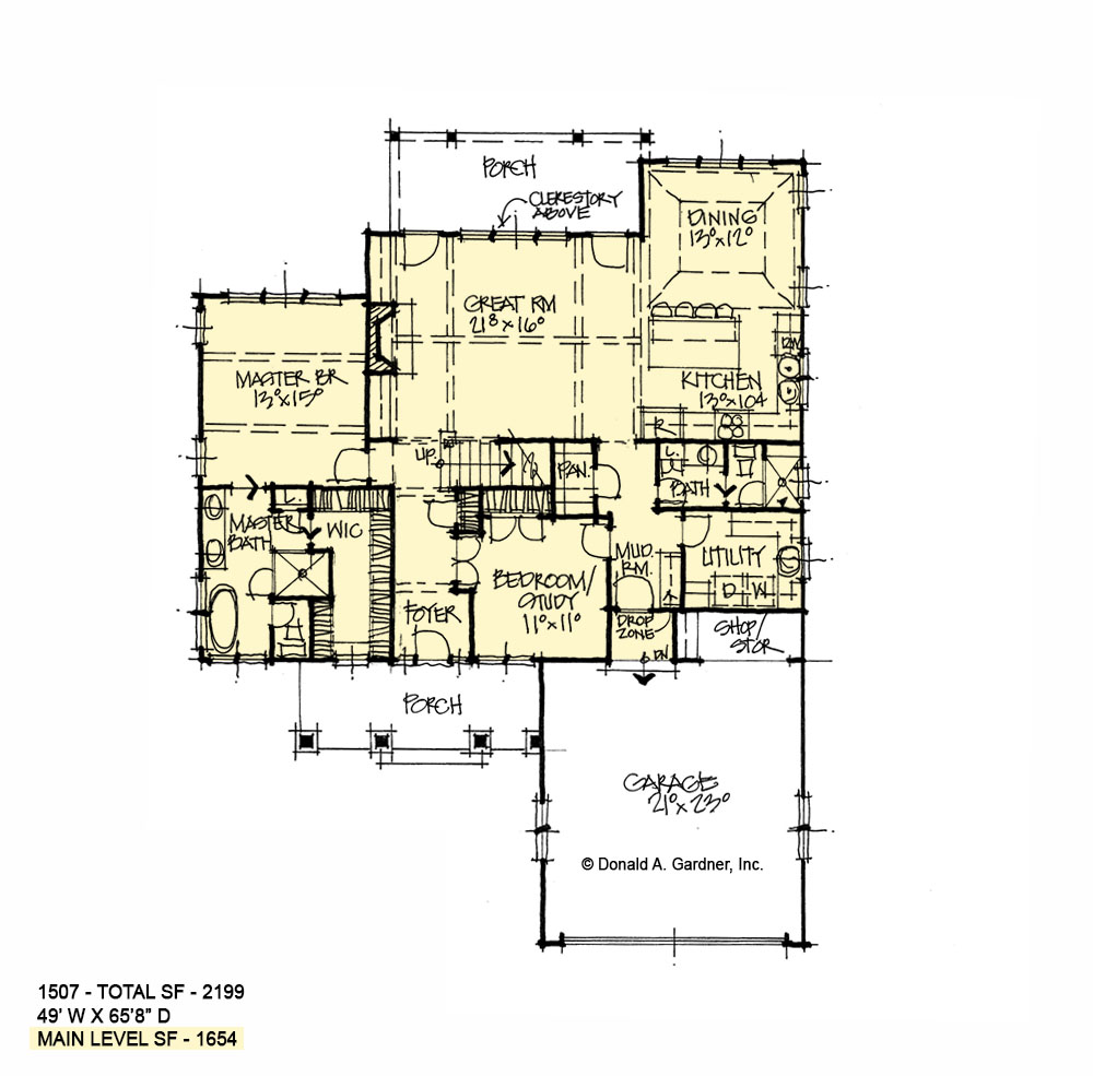 First floor of conceptual house plan 1507.