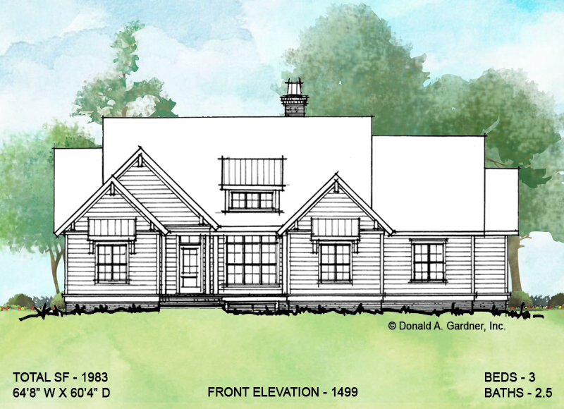 Front elevation of conceptual house plan 1499.