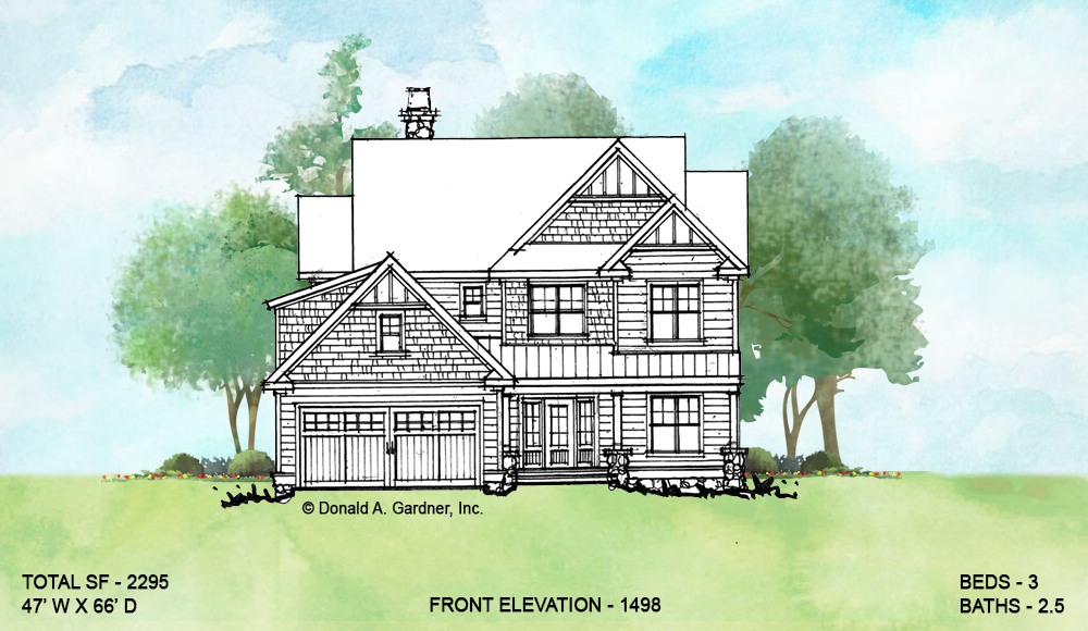 Front elevation of Conceptual house plan 1498.