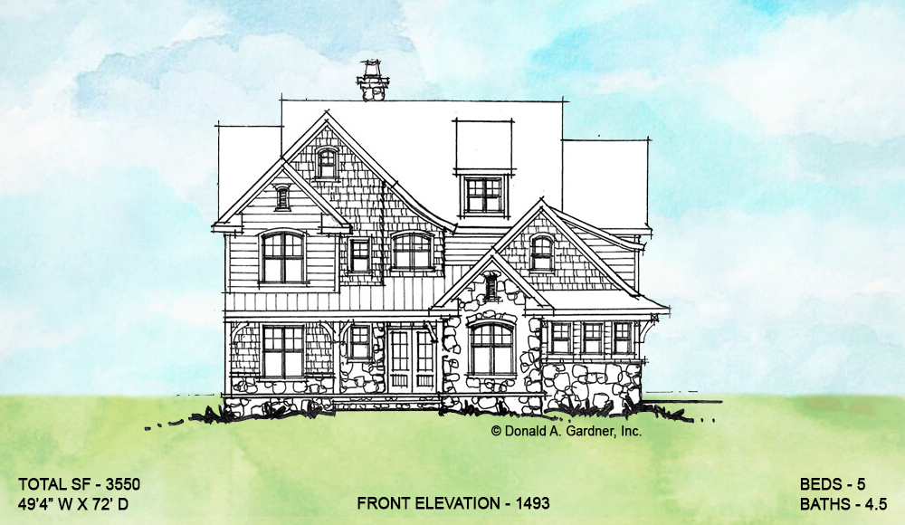 Front exterior of conceptual house plan 1493.