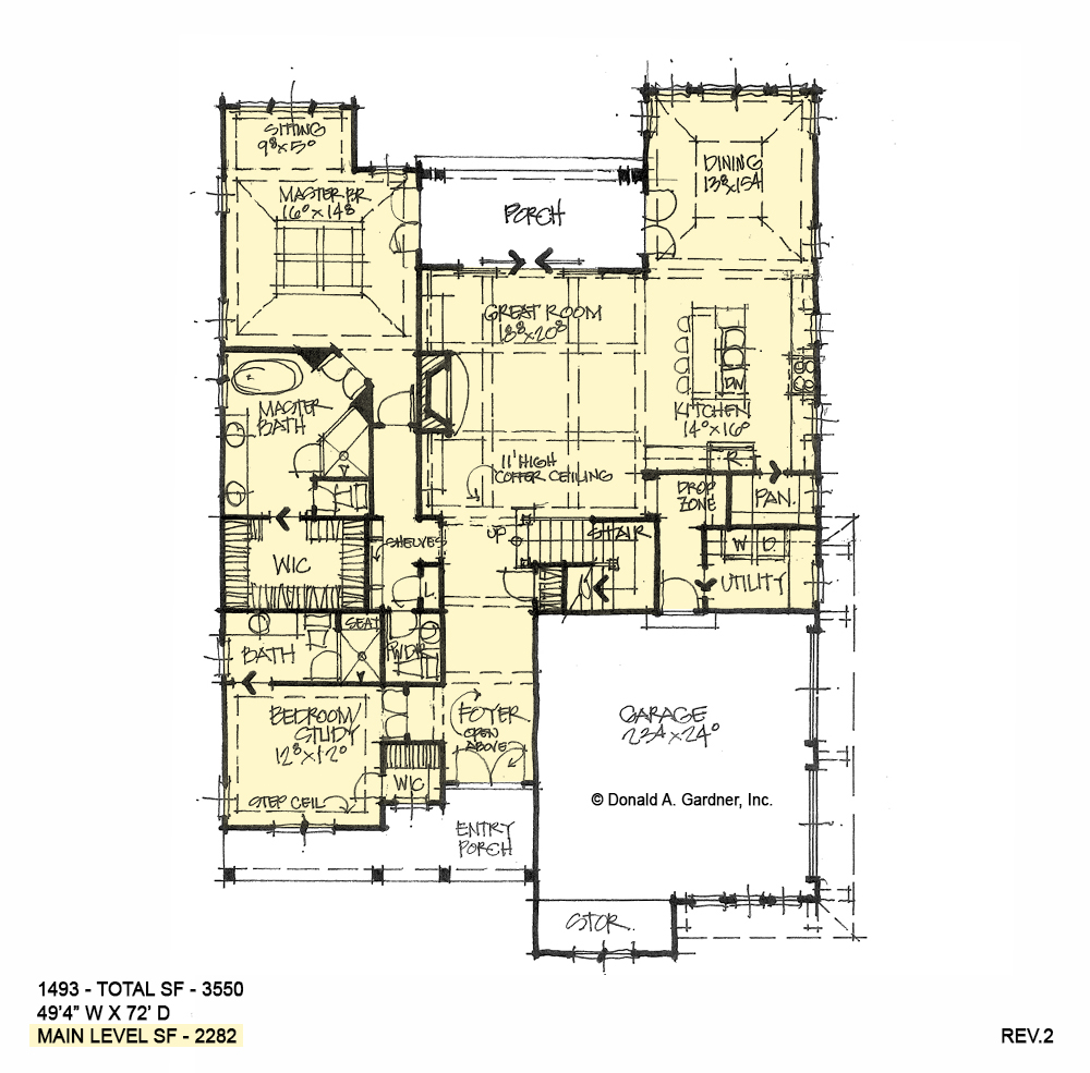 First floor of conceptual house plan 1493.