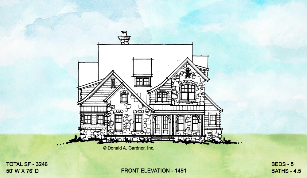 Front elevation of conceptual house plan 1491.