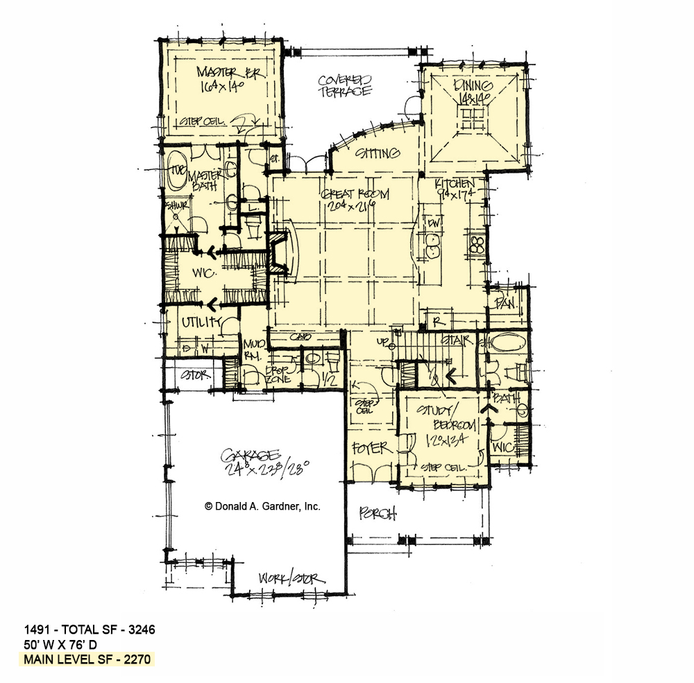 First floor of conceptual house plan 1491.