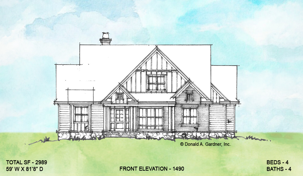Front elevation of conceptual house plan 1490.