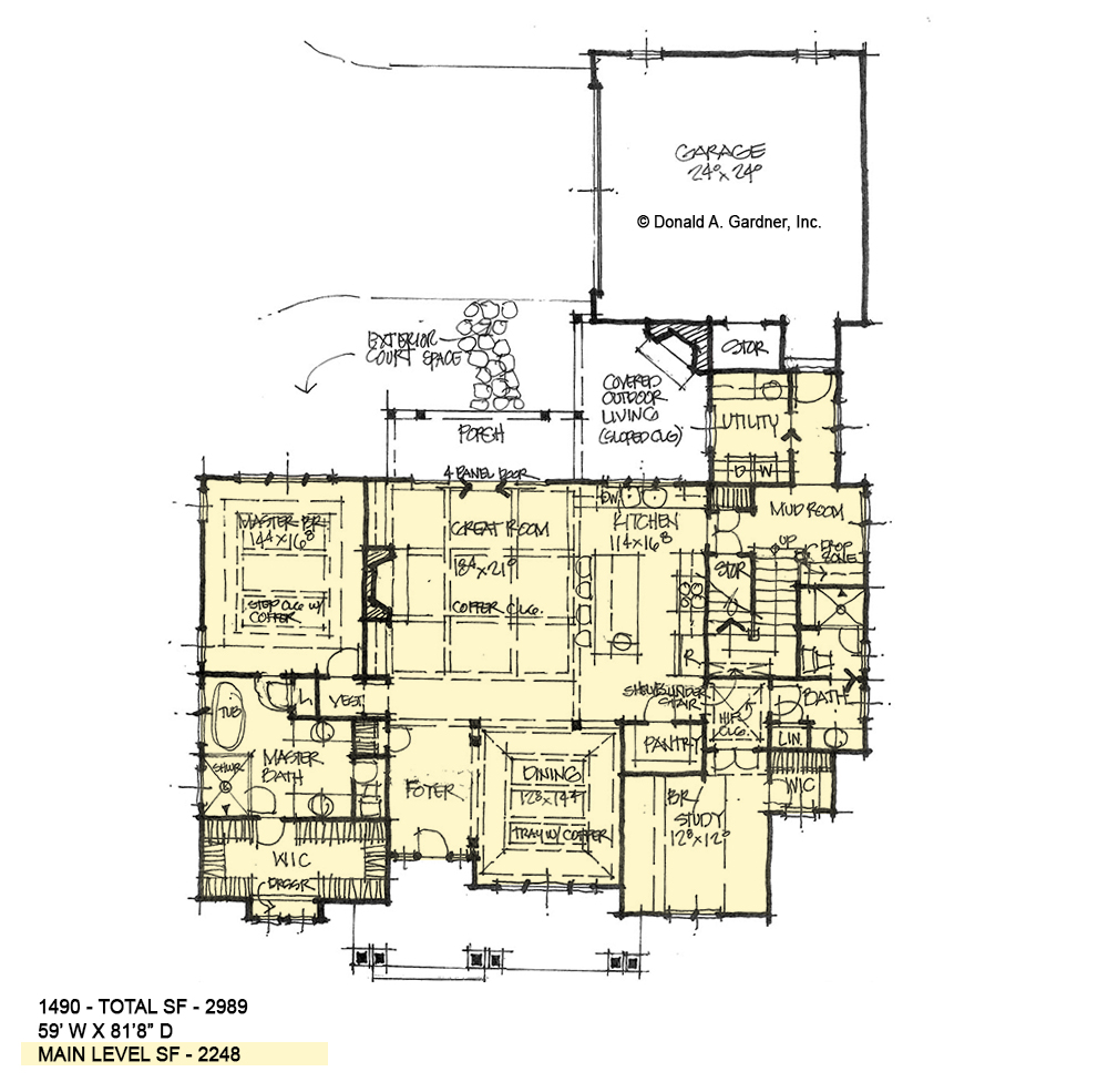 First floor of conceptual house plan 1490.
